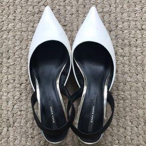 Zara white sling back kitten heels